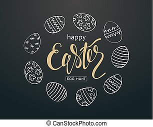 Happy Easter text lettering on black background. Paschal...