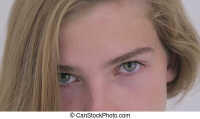 Portrait of pretty teen girl without makeup
