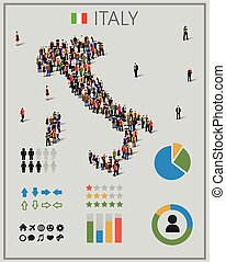 Large group of people in form of Italy map with infographics...