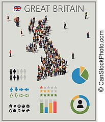 Large group of people in form of Great Britain map with...