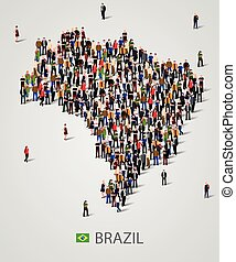 Large group of people in form of Brazil map. Background for presentation.