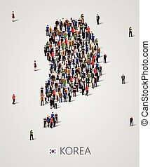 Large group of people in South Korea map form. Population of...
