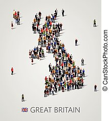 Large group of people in form of Great Britain map. United...