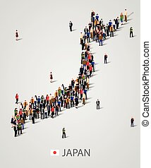 Large group of people in Japan map form. Background for...