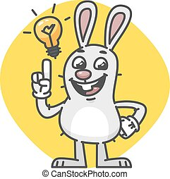 Bunny Laughs and Came Up Idea. Vector Illustration. Mascot...