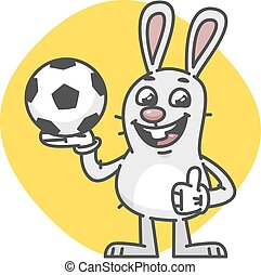Bunny Laughs Showing Thumbs Up and Holds Soccer Ball. Vector...