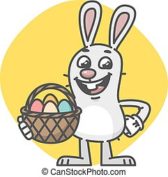 Easter Bunny Laughs and Holds Basket with Eggs. Vector...