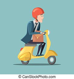 Businessman Riding on a Scooter. Rush to Work. Vector cartoon illustration