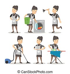 Maid Cartoon in a Classic Uniform. Cleaning Service. Vector...