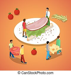 Miniature People Making Sandwich with Ham and Cheese. Healthy Food. Vector flat 3d isometric illustration