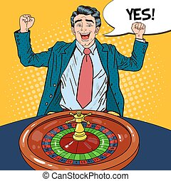 Happy Man Behind Roulette Table Celebrating Big Win. Casino...