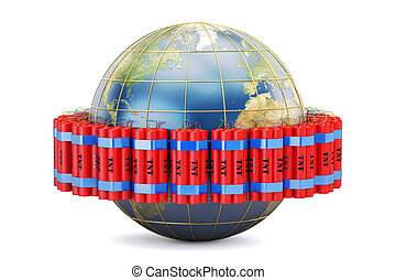 Earth globe with dynamite , 3D rendering isolated on white...