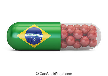Pill capsule with Brazil flag. Brazilian health care concept, 3D rendering