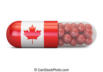 Pill capsule with Canada flag. Canadian health care concept, 3D rendering