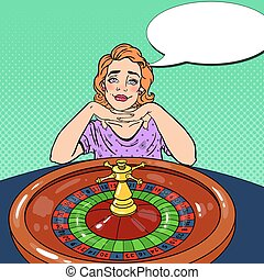 Young Woman Behind Roulette Table Dreaming About Big Win. Casino Gambling. Pop Art Vector retro illustration