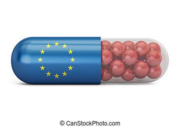 Pill capsule with EU flag. European Union health care concept, 3D rendering