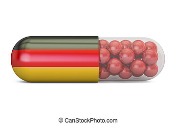 Pill capsule with Germany flag. German health care concept, 3D rendering