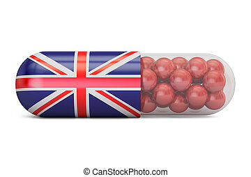 Pill capsule with Great Britain flag. UK health care concept, 3D rendering