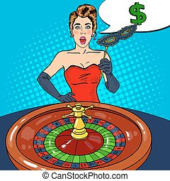 Surprised Woman Behind Roulette Table. Casino Gambling. Pop Art Vector retro illustration