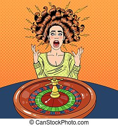 Stressed Woman Behind Roulette Table. Casino Gambling. Pop Art Vector retro illustration