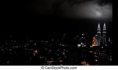 Kuala Lumpur at night - Kuala Lumpur downtown timelapse at...
