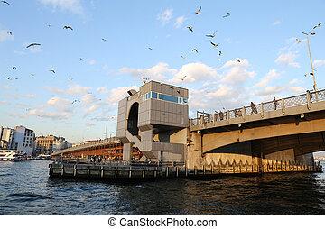 Galata Bridge in Istanbul - Galata Bridge in Karakoy,...