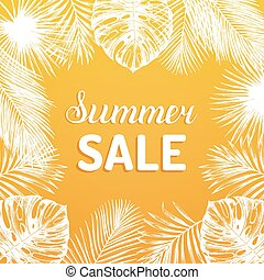 Summer sale vector background. Discount card with tropic plants illustration.Special offer flyer in jungle foliage frame
