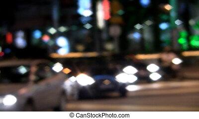 Kuala Lumpur traffic at night in Bukit Bintang defocused...