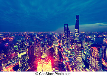 Aerial view of Shanghai city center at sunset time.