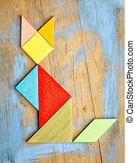 cat figure - tangram abstract - abstract picture of a cat...