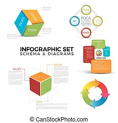 Collection of diagram schema templates for your infographics