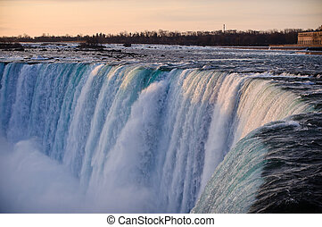 Niagara Falls Horseshoe in Winter - A shot of the brink of...