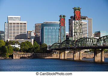 Portland Oregon Skyline - Portland Oregon skyline with...