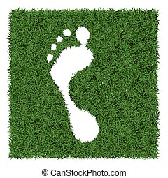 Human footstep - Trace human foot from green grass, vector...