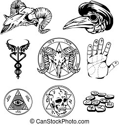 Sketch Set Of Esoteric Symbols And Occult Attributes - Set...