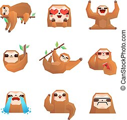 Sloth Polygonal Set - Different emotions of cute sloth...