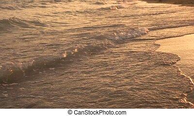Beautiful evening sea coast. Golden sunset by the sea. Foamy...