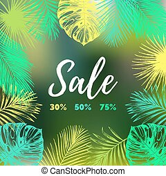 Sale vector background. Discount card with tropic plants illustration.Special offer flyer in jungle foliage frame
