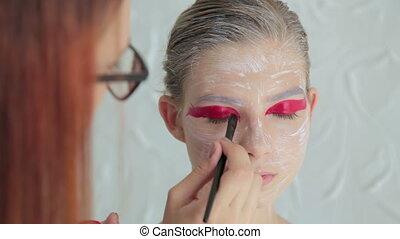 Professional make-up creating face makeup art