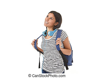 beautiful and trendy latin student girl carrying backpack smiling happy thinking in future