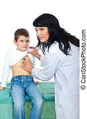 doutor, exame, encantador, criança