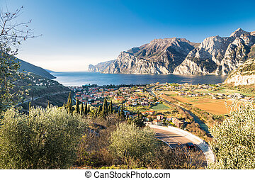 Town of Riva del Garda, Lake Garda, Italy. - Panorama of the...
