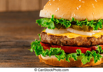 Homemade hamburger with fresh vegetables Classic deluxe...