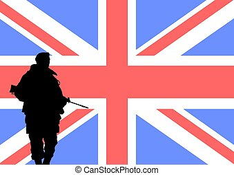 British soldier - Silhouette of a British soldier with the...