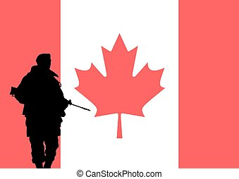 Canadian soldier - Silhouette of a Canadian soldier with the...