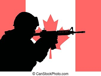 Canadian soldier 2 - Silhouette of a Canadian soldier with...