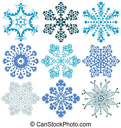 New collection blue snowflakes