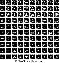 100 job icons set, grunge style - 100 job icons set in...