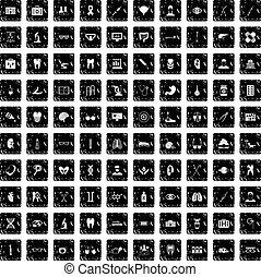100 medical icons set, grunge style