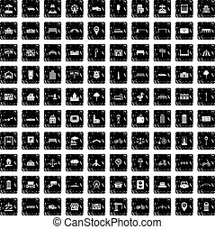 100 city icons set, grunge style - 100 city icons set in...